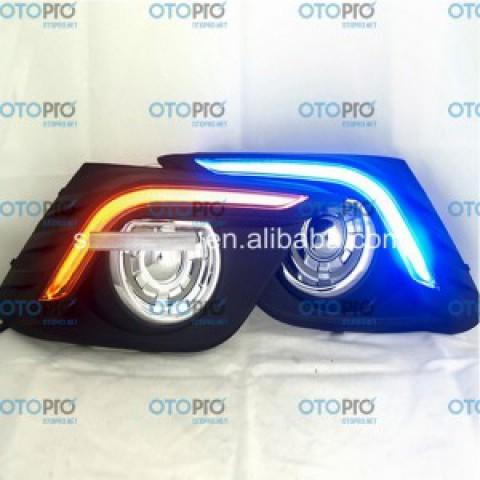 Đèn gầm LED daylight DRL cho Mazda 3 All New 2015-2016 mẫu chữ L xanh vàng