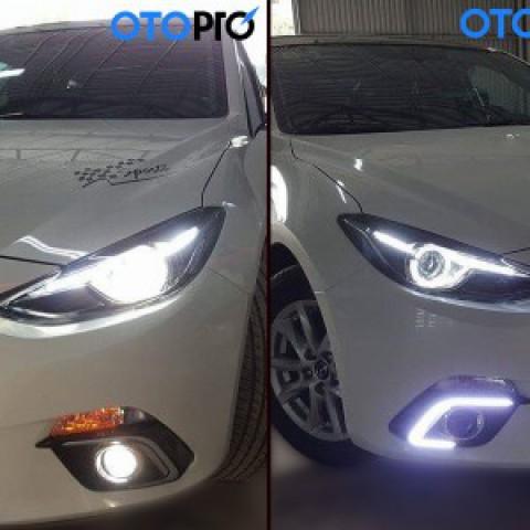 Độ xe Mazda3 – Độ đèn gầm LED + Đèn pha 2.0 và mặt ca lăng sao rơi + dán nóc panorama