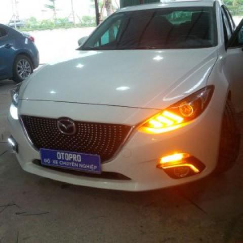 Độ đèn pha NB mustang, led mí gầm, ca lăng sao rơi Mazda3