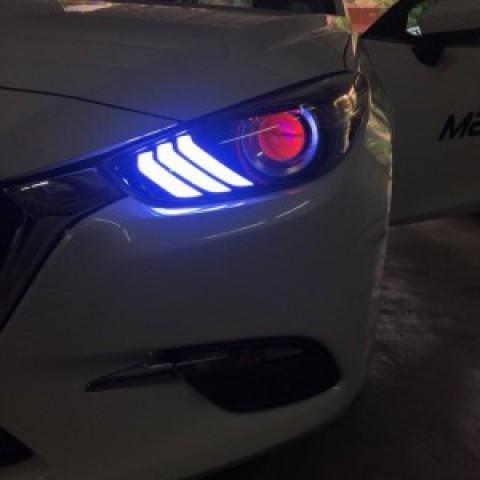 Độ đèn pha Mazda 3 2017 Facelift mẫu Mustang