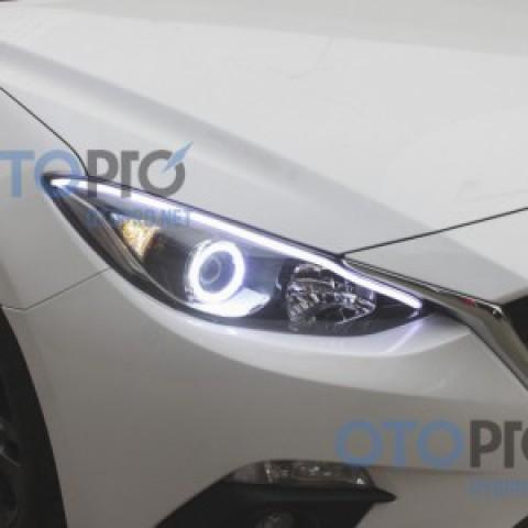 Độ vòng angel eyes, LED mí khối xe Mazda 3 2014 All New