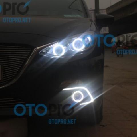 Độ bi xenon, angel eyes LED, đèn gầm daylight Mazda 3 2015