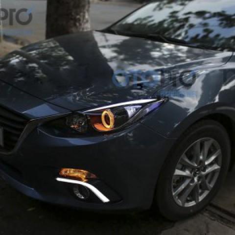 Độ đèn pha LED mí khối, angel eyes LED 2 màu xe Mazda 3