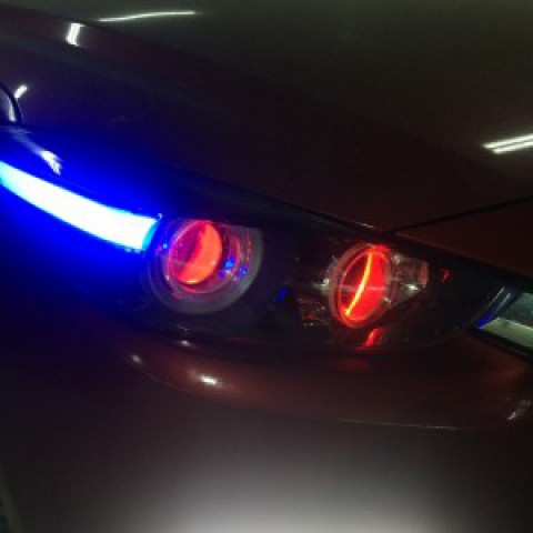 Mazda 3 2017 độ bi pha led mí khối mắt quỷ, mí gầm