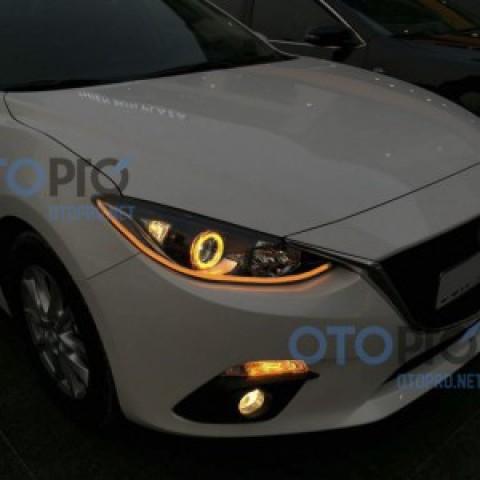 Độ angel eyes kiểu BMW, LED mí khối Mazda 3 All New 2015
