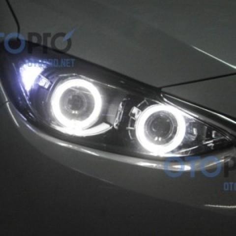 Độ bi xenon, angel eyes LED cho xe Mazda 3 2015 All New