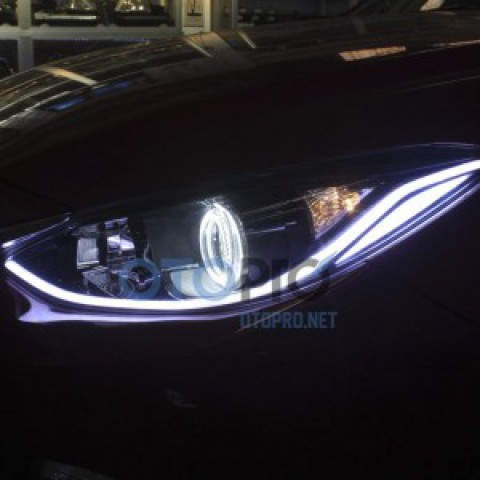 Độ vòng angel eyes, LED mí khối xe Mazda 3 2015 cánh chim