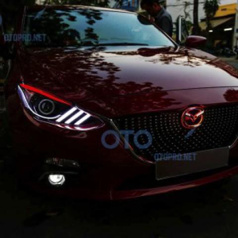 Độ đèn pha LED xe Mazda 3 Allnew mẫu Mustang, bi gầm pha cos