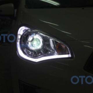 Độ đèn pha bi xenon, angel eyes, LED mí khối xe Attrage