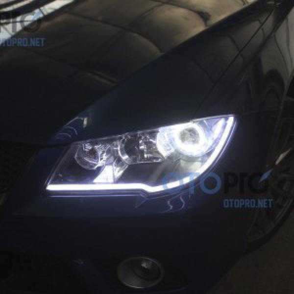 Độ vòng angel eyes, LED mí khối cho xe Lancer 2009