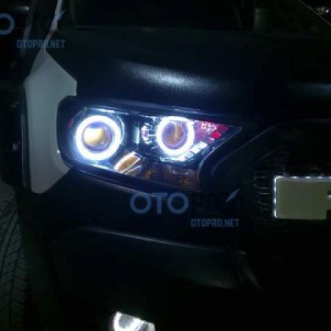 Ford Ranger 2016 XLS độ đèn bi xenon, angel eyes LED 2 màu