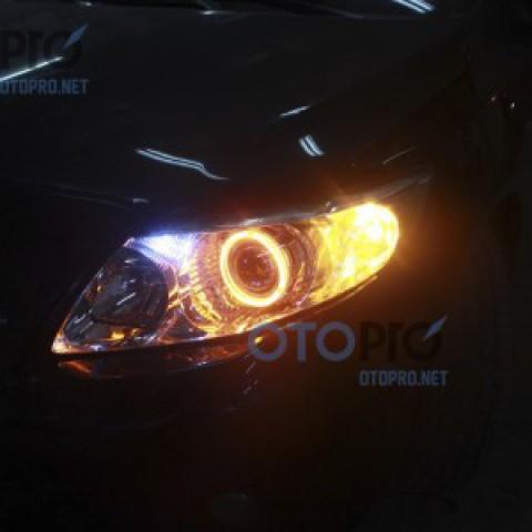 Toyota Altis 2009-2011 độ đèn bi xenon, angel eyes LED 2 màu