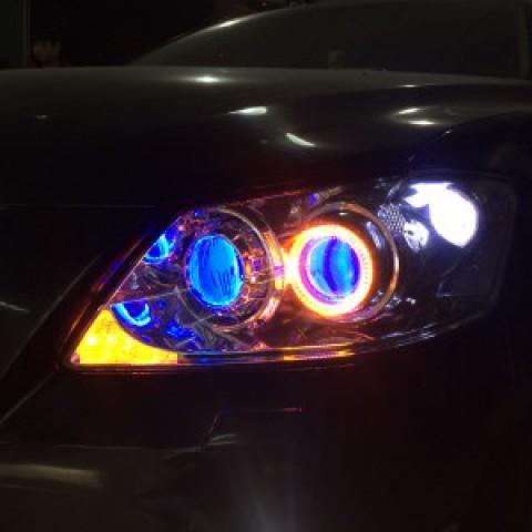 Camry 2009 độ bi Hella 5, bi domax bóng GTR, mắt quỷ xanh, vòng ae, bi gầm