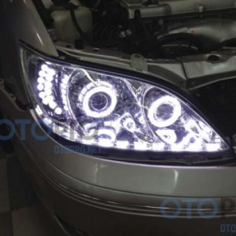 Độ đèn bi xenon, angel eyes, dải LED mí cho xe Camry 2003