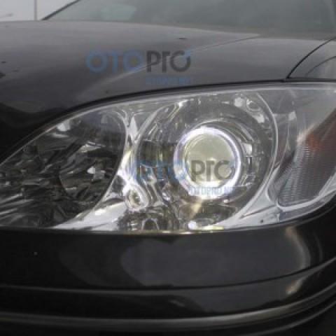 Độ đèn bi xenon, angel eyes LED kiểu BMW cho Camry 2005