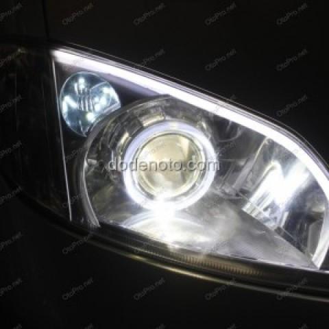 Độ đèn bi Q5, LED mí khối trắng vàng, angle eyes Vios 2006