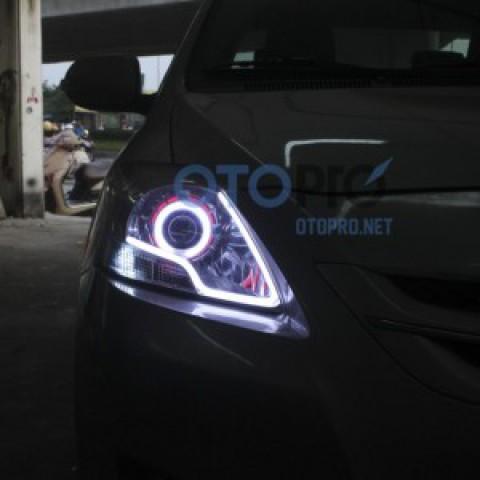 Độ đèn bi xenon, angel eyes, LED mí khối xe Vios 2008-2009