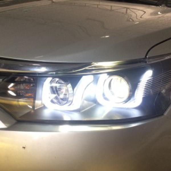 Vios 2016 lắp đèn nguyên bộ mẫu chữ U, độ bi gầm